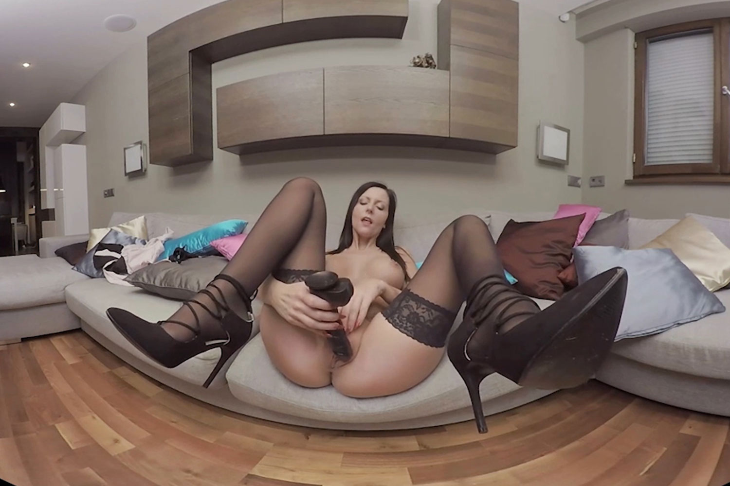 Horny secretary with a giant dildo in her pussy VR Porn Video