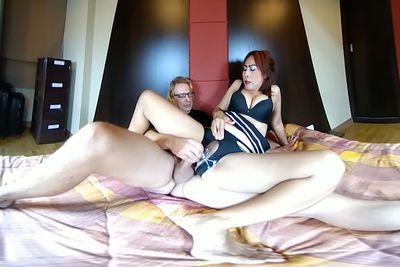 Stepsister tease brother to jerk off together until cumshot and orgasm VR Porn Video